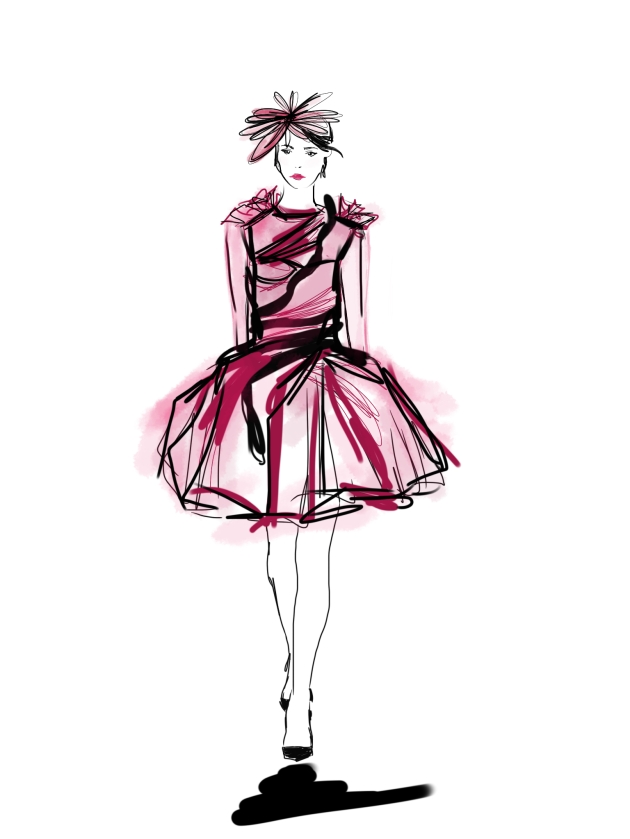 valentino dress drawing fashion art